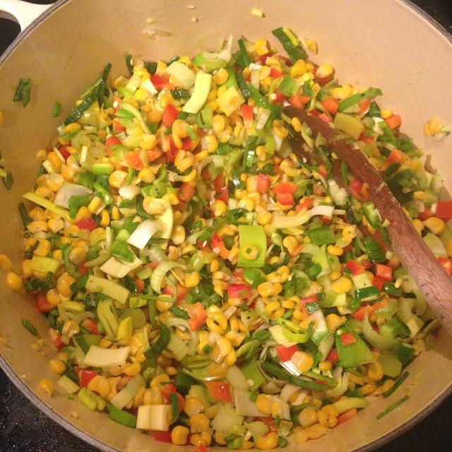 Sautéing the veggies for the soup.